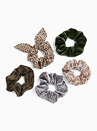 Olive Green & Leopard Hair Tie Pack - Pack of 5, , hi-res