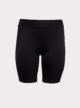 Plus Size Black Liquid Bike Short, BLACK, flat