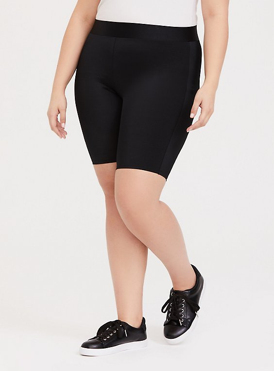 Plus Size Black Liquid Bike Short, , hi-res