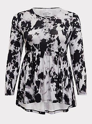 Plus Size Super Soft Black Tie-Dye O-Ring Babydoll, TIE DYE-BLACK, flat