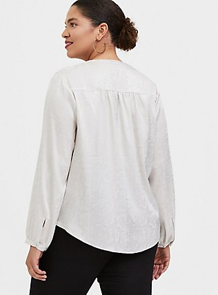 Plus Size Ivory Jacquard Button Front Blouse, WIND CHIME, alternate