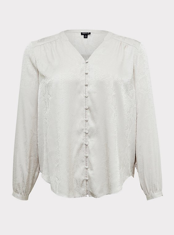 Ivory Jacquard Button Front Blouse, , flat