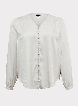 Plus Size Ivory Jacquard Button Front Blouse, WIND CHIME, flat