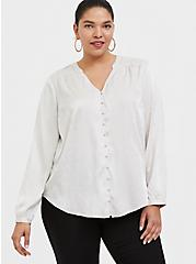 Ivory Jacquard Button Front Blouse, WIND CHIME, hi-res