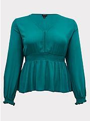 Emerald Green Gauze Smocked Peplum Midi Blouse, CADMIUM GREEN, hi-res