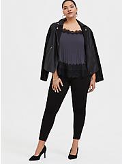 Dark Slate Grey Chiffon & Black Lace Pleated Cami, NINE IRON, alternate