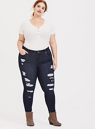 Plus Size Off White Rib Henley Bodysuit, CLOUD DANCER, hi-res