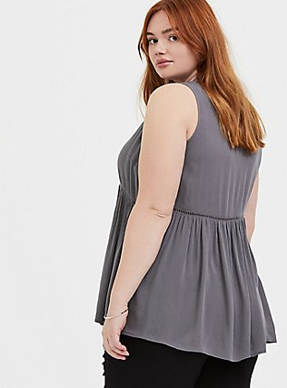 Grey Crinkled Gauze Babydoll Tunic Tank, SMOKED PEARL, alternate