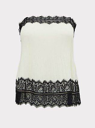 Ivory Chiffon & Black Lace Pleated Cami, WINTER WHITE, flat