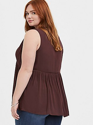 Raisin Brown Crinkled Gauze Babydoll Tunic Tank, PUCE, alternate