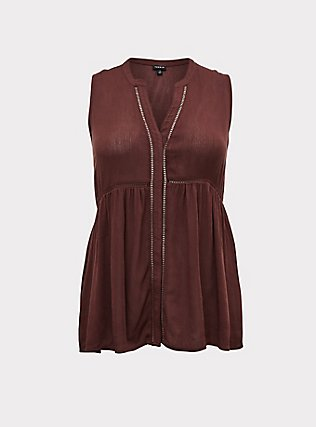 Raisin Brown Crinkled Gauze Babydoll Tunic Tank, PUCE, flat