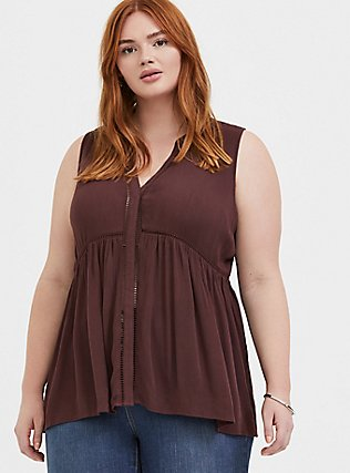 Raisin Brown Crinkled Gauze Babydoll Tunic Tank, PUCE, hi-res