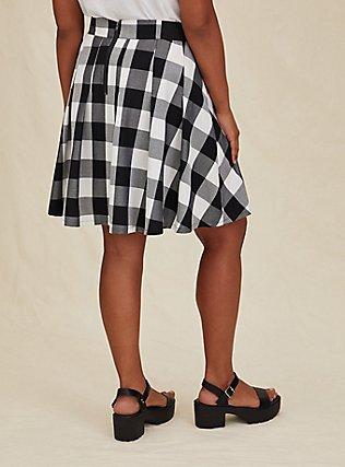 Black & White Plaid Pleated Twill Mini Skirt , PLAID - WHITE, alternate