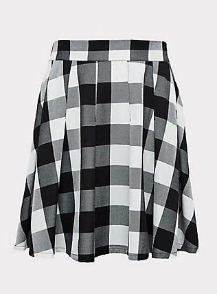Black & White Plaid Pleated Twill Mini Skirt , PLAID - WHITE, flat