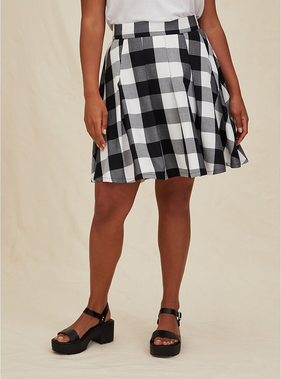 Black & White Plaid Pleated Twill Mini Skirt , PLAID - WHITE, hi-res