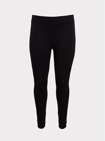 Premium Legging - Ruched Hem Black, BLACK, hi-res