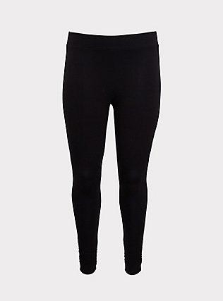 Premium Legging - Shirred Hem Black, BLACK, flat