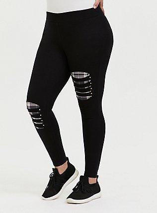 Premium Legging - Slashed Purple Plaid Underlay Black, BLACK, alternate