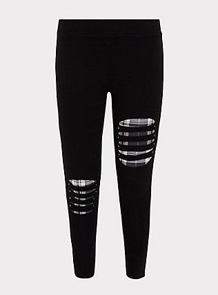 Premium Legging - Slashed Purple Plaid Underlay Black, BLACK, flat
