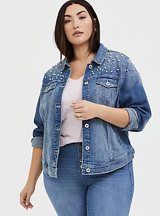 Wifey Embroidered Faux Pearl Denim Jacket - Medium Wash , MEDIUM WASHED DENIM, alternate
