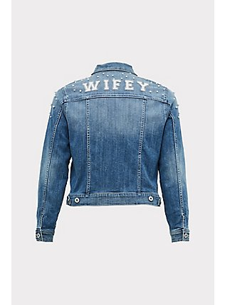 Wifey Embroidered Faux Pearl Denim Jacket - Medium Wash , MEDIUM WASHED DENIM, flat