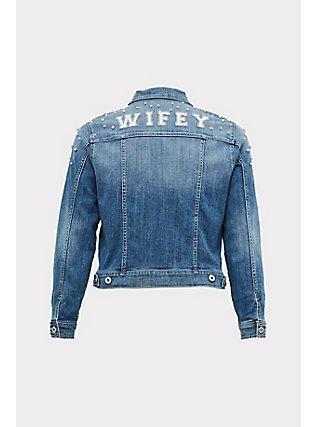 Plus Size Wifey Embroidered Faux Pearl Denim Jacket - Medium Wash , MEDIUM WASHED DENIM, flat