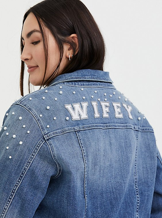 Plus Size Wifey Embroidered Faux Pearl Denim Jacket - Medium Wash , , hi-res