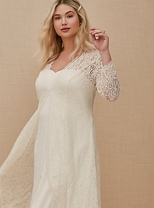Plus Size Ivory Lace Scalloped Duster, CLOUD DANCER, alternate