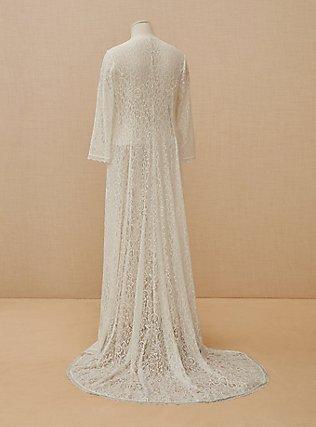 Plus Size Ivory Lace Scalloped Duster, CLOUD DANCER, flat