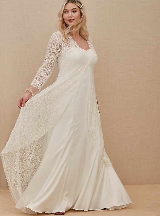 Ivory Lace Scalloped Duster, , hi-res