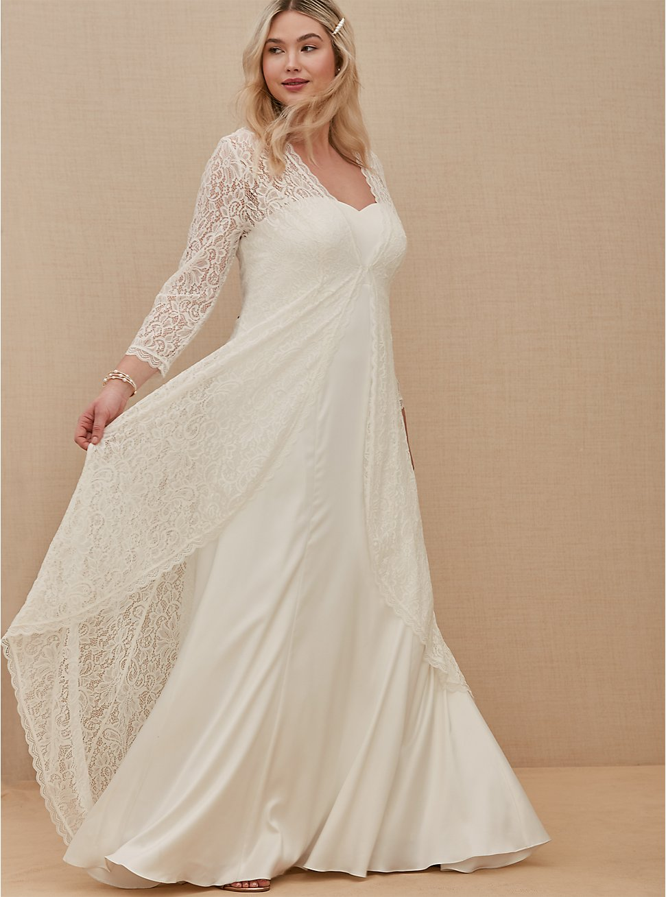 Plus Size Ivory Lace Scalloped Duster, CLOUD DANCER, hi-res