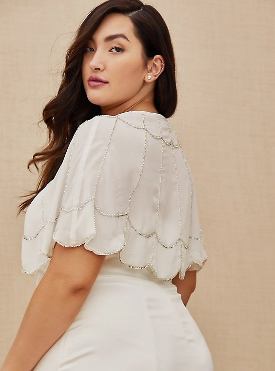 Plus Size White Georgette Silver Beaded Capelet , , hi-res