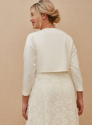 Plus Size Ivory Satin Open Front Bridal Shrug, CLOUD DANCER, alternate