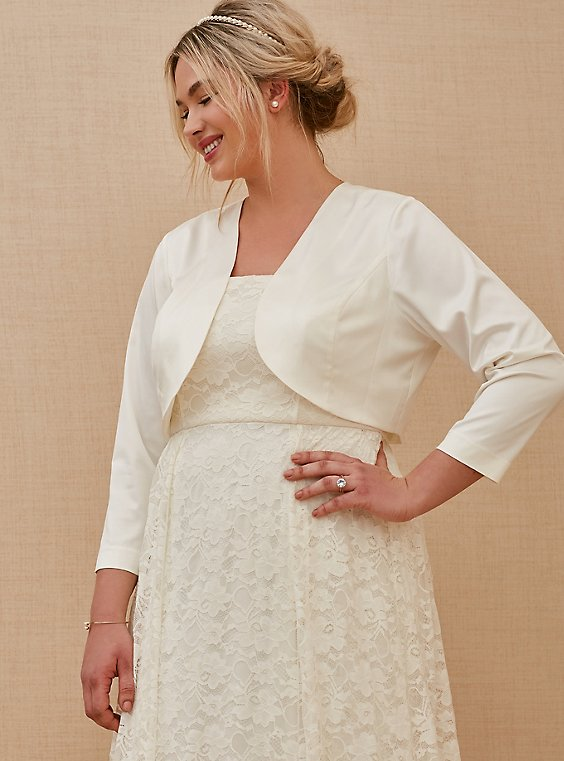 Plus Size Ivory Satin Open Front Bridal Shrug, , hi-res