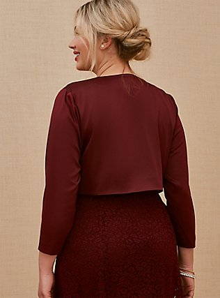 Special Occasions Burgundy Purple Satin Open Front Shrug, DEEP MERLOT, alternate