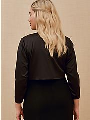 Special Occasions Black Satin Open Front Shrug, DEEP BLACK, alternate