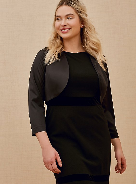 Plus Size Special Occasions Black Satin Open Front Shrug, , hi-res