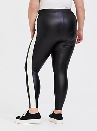 Platinum Legging - Faux Leather Black & White Stripe, BLACK, alternate