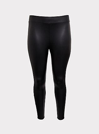 Platinum Legging - Faux Leather Black & White Stripe, BLACK, flat