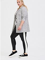 Platinum Legging - Faux Leather Black & White Stripe, BLACK, hi-res