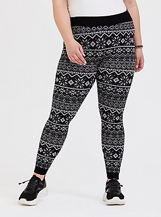 Platinum Leggings - Sweater-Knit Fair Isle Black & White , MULTI, alternate