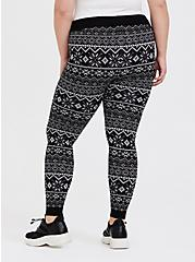 Platinum Legging - Sweater-Knit Fair Isle Black & White , MULTI, alternate