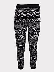 Platinum Legging - Sweater-Knit Fair Isle Black & White , MULTI, hi-res
