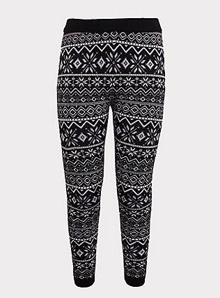 Platinum Leggings - Sweater-Knit Fair Isle Black & White , MULTI, flat