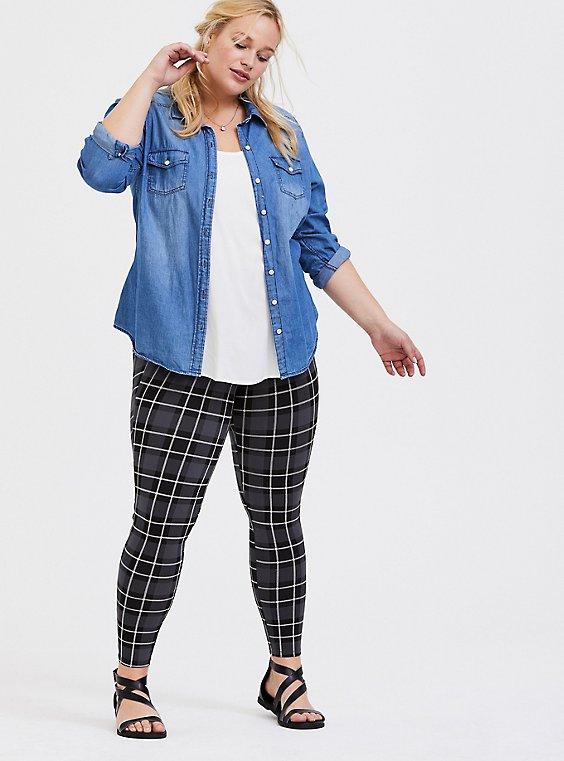 Slim Fix Premium Legging - Black & Grey Plaid, , hi-res