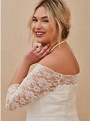 Plus Size White Lace Off Shoulder A-Line Wedding Dress, BRIGHT WHITE, alternate