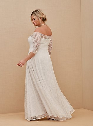 White Lace Off Shoulder A-Line Wedding Dress, BRIGHT WHITE, alternate