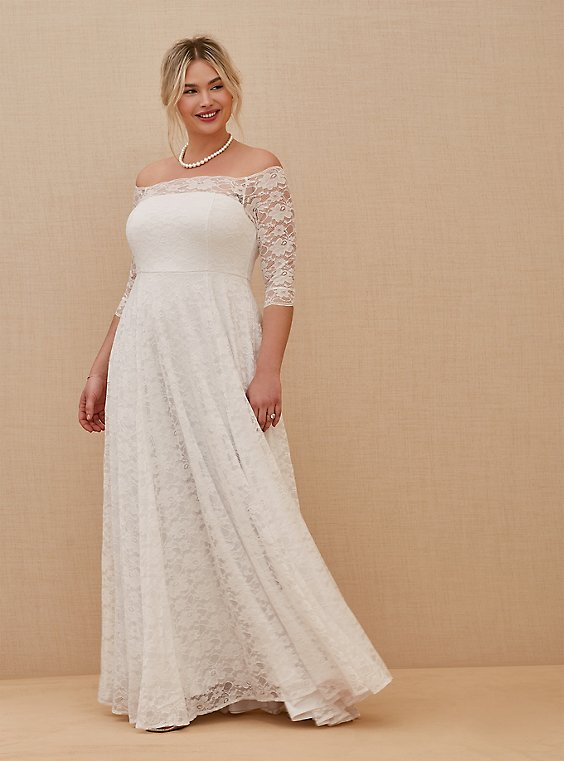 White Lace Off Shoulder A-Line Wedding Dress, , hi-res