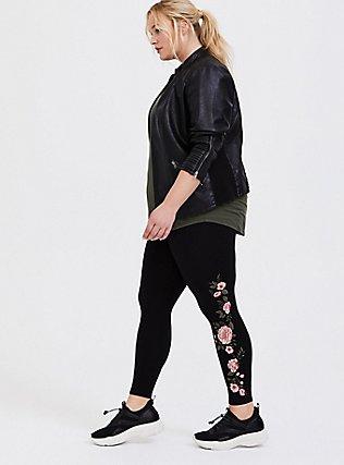 Crop Premium Legging - Embroidered Floral Black, BLACK, hi-res