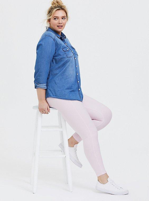 Plus Size Platinum Leggings - Fleece Lined Lilac Pink, , hi-res